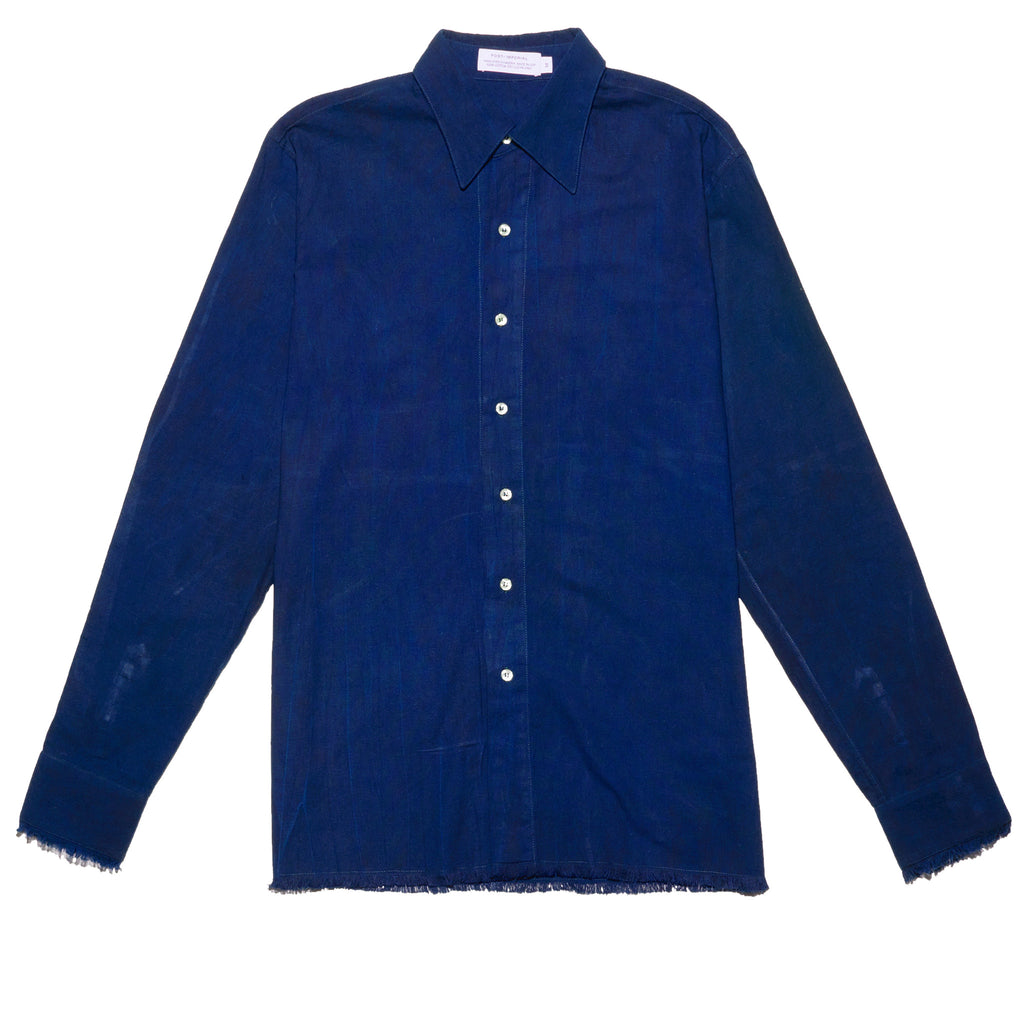Post-Imperial Standard Shirt with Adire Indigo Dyed. Dyed in Nigeria, Made in USA
