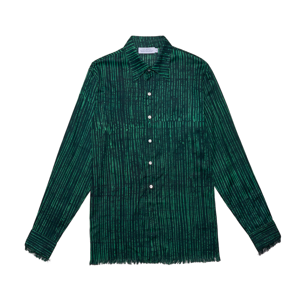 Post-Imperial Adire Green dyed Broken Stripe Standard shirt. Dyed in Nigeria, Made in USA