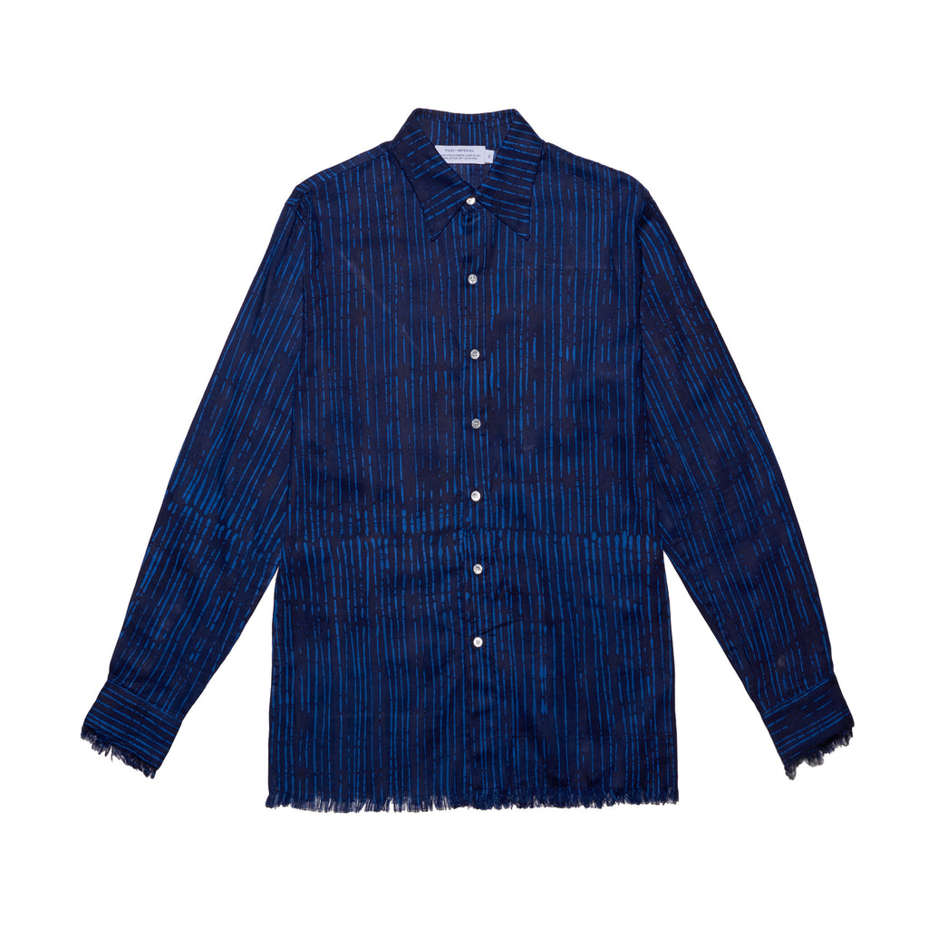 Post-Imperial Adire Indigo-Azure dyed Broken Stripe Standard shirt. Dyed in Nigeria, Made in USA