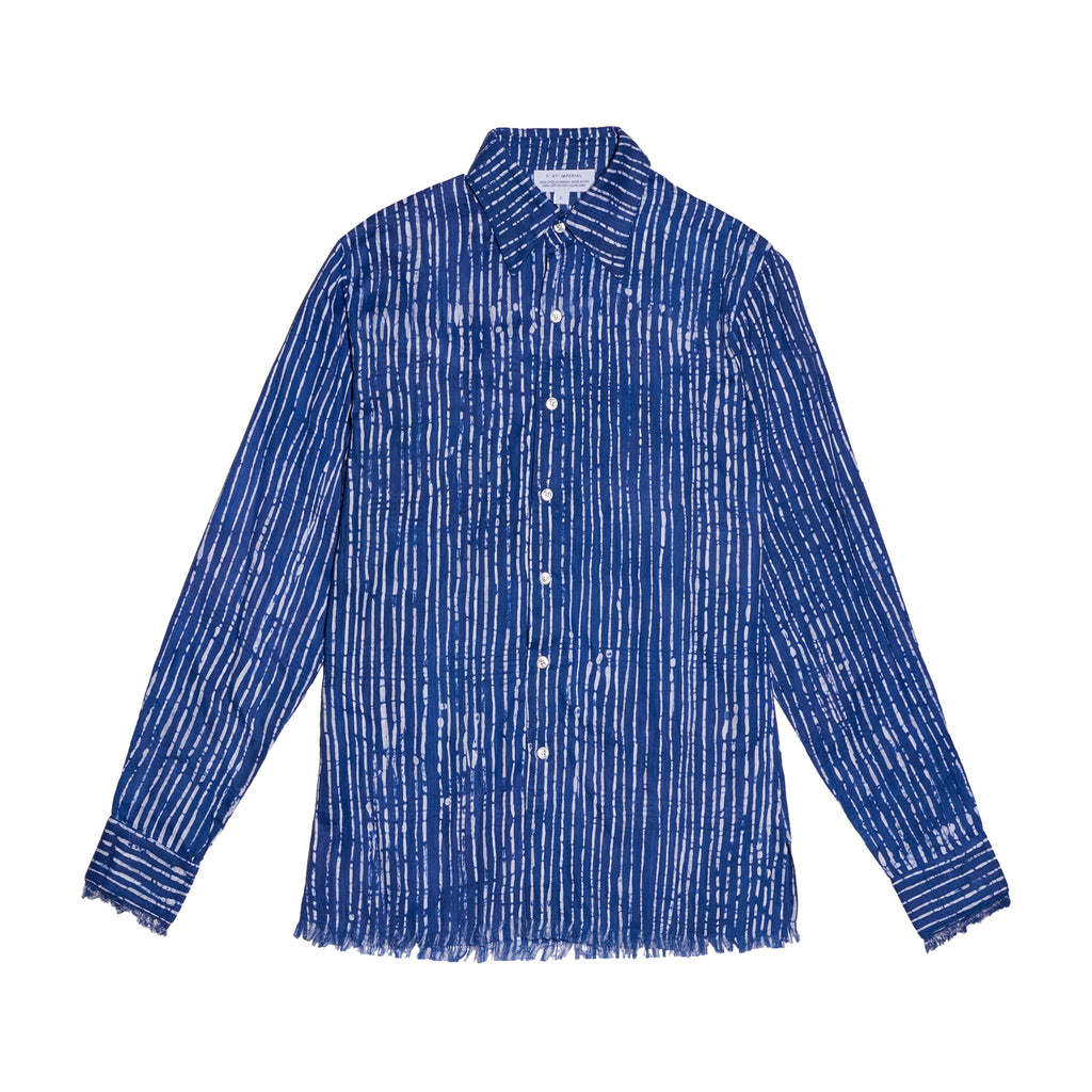 Post-Imperial Adire Azure dyed Broken Stripe Standard shirt. Dyed in Nigeria, Made in USA