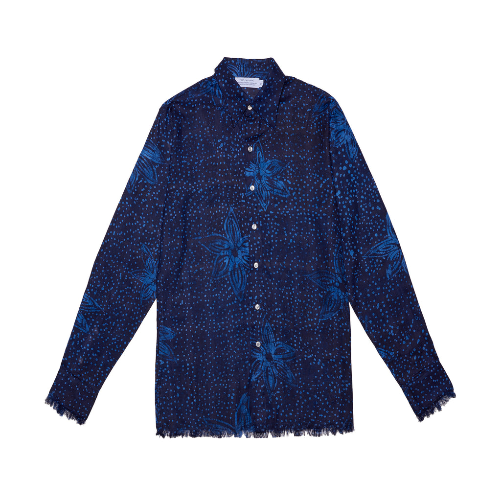 Post-Imperial Adire Indigo-Azure dyed Galactic Pattern Standard shirt. Dyed in Nigeria, Made in USA
