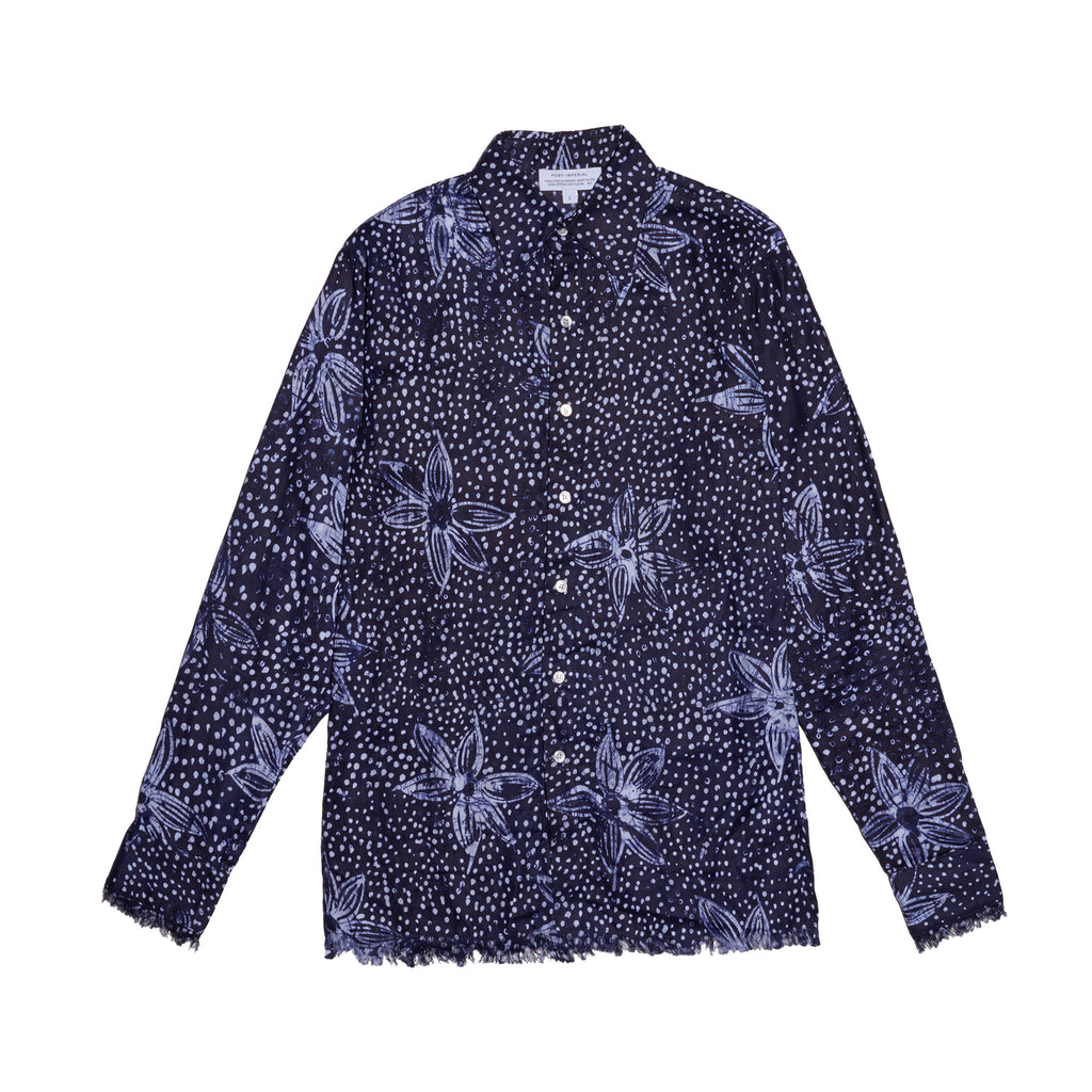 Post-Imperial Adire Indigo dyed Galactic Pattern Standard shirt. Dyed in Nigeria, Made in USA