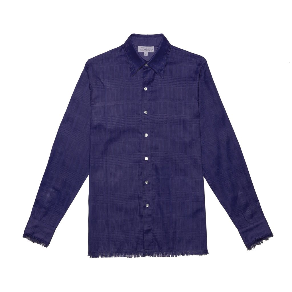 Post-Imperial Adire solid dyed indigo Standard Shirt. Dyed in Nigeria, Made in USA