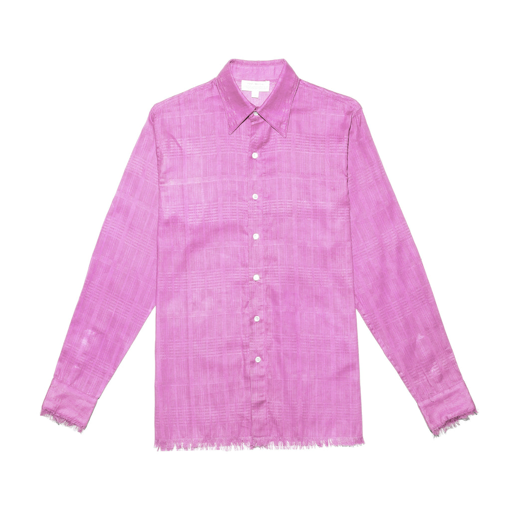 Post-Imperial Adire solid dyed pink Standard Shirt. Dyed in Nigeria, Made in USA