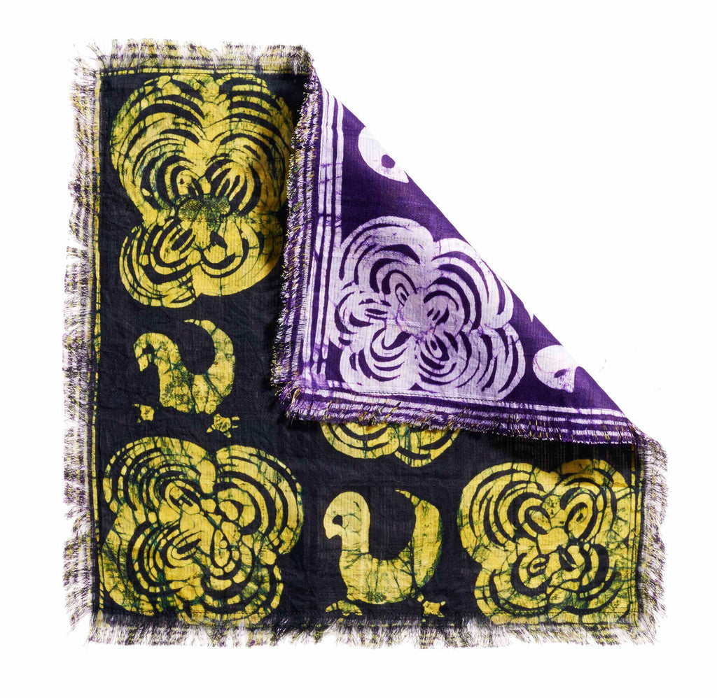 DOUBLE SIDED FOWL MOTIF POCKET SQUARE - Post-Imperial