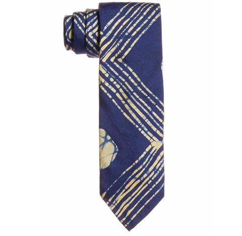 Post-Imperial Adire Indigo Yellow Mega Family House Pattern Self Tipped Tie. Dyed in Nigeria, Made in USA