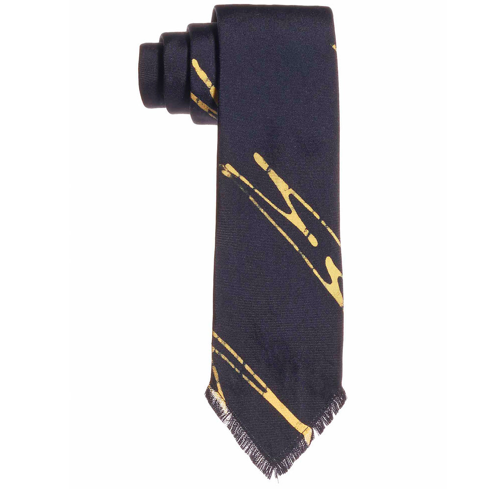 Post-Imperial Adire Indigo Yellow Sango Pattern Frayed Tie. Dyed in Nigeria, Made in USA