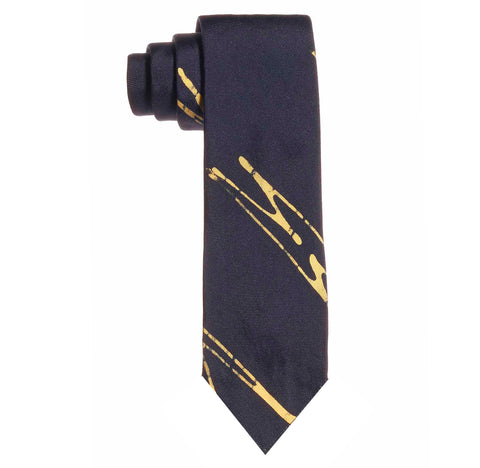 Post-Imperial Adire Indigo Yellow Sango Pattern Untipped Tie. Dyed in Nigeria, Made in USA
