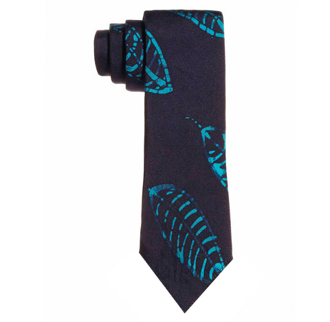 Adire indigo turquoise hand dyed osain pattern untipped tie. Dyed in Nigeria, Made in the USA.