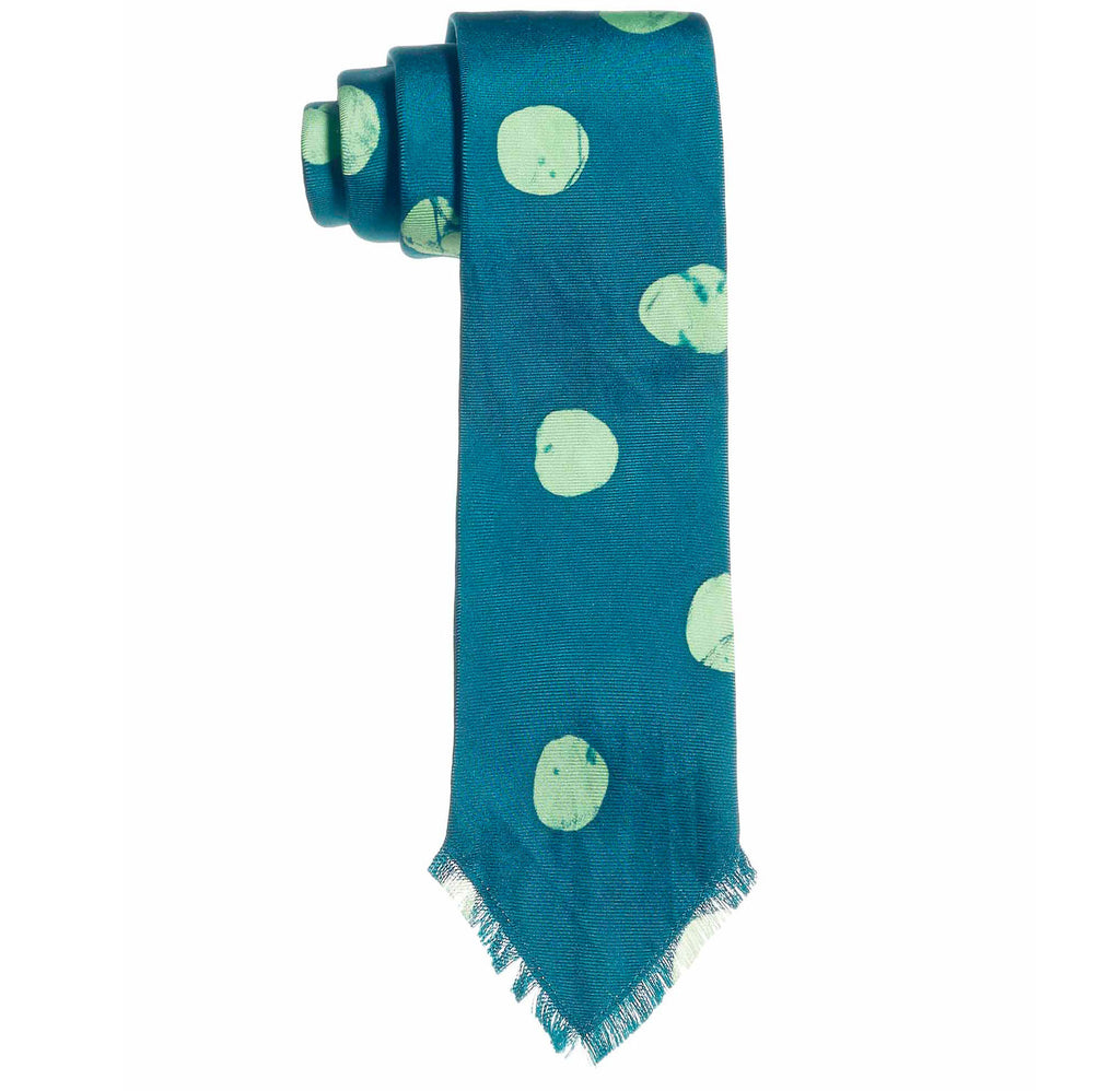 Post-Imperial Adire Green Mint Mega Dot Tie. Dyed in Nigeria, Made in USA