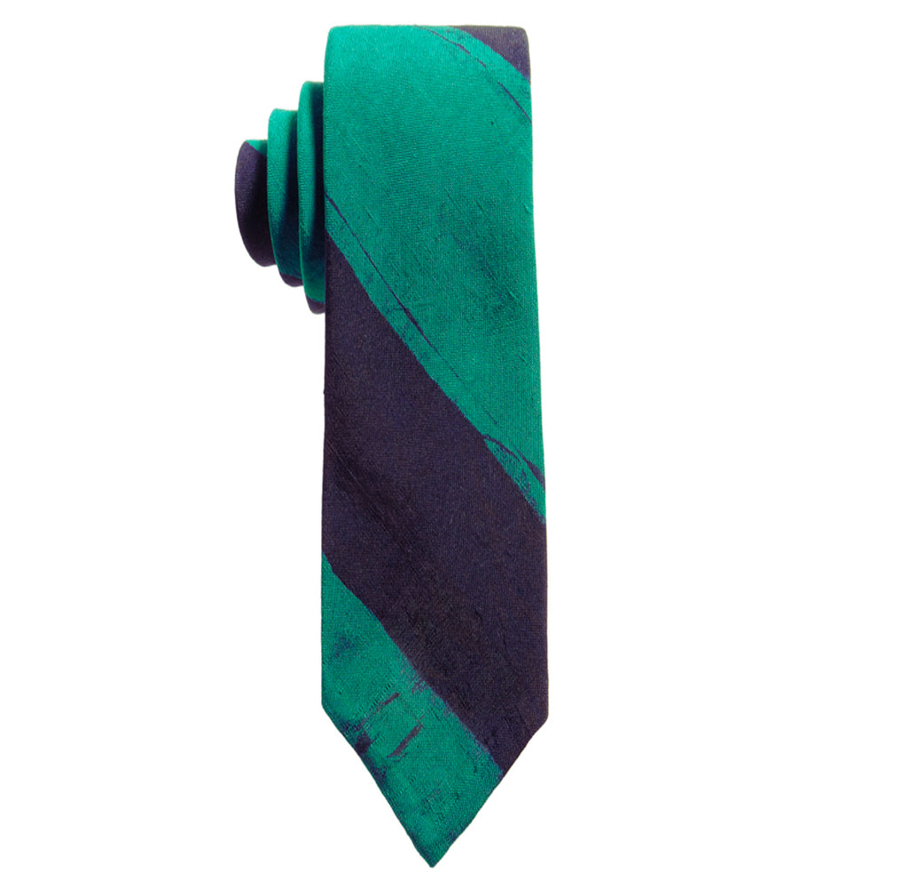 Post-Imperial Adire Indigo Green Broad Striped Untipped Tie. Dyed in Nigeria, Made in USA