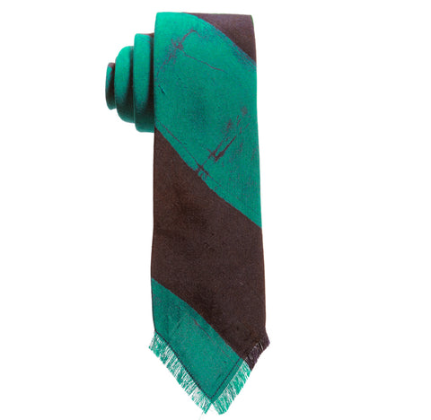 Post-Imperial Adire Indigo Green Broad Striped Frayed Tie. Dyed in Nigeria, Made in USA