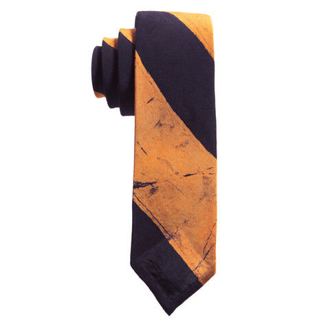 Post-Imperial Adire Indigo Orange Broad Striped Untipped Tie. Dyed in Nigeria, Made in USA