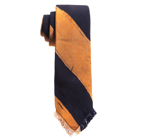 Post-Imperial Adire Indigo Orange Broad Striped Frayed Tie. Dyed in Nigeria, Made in USA