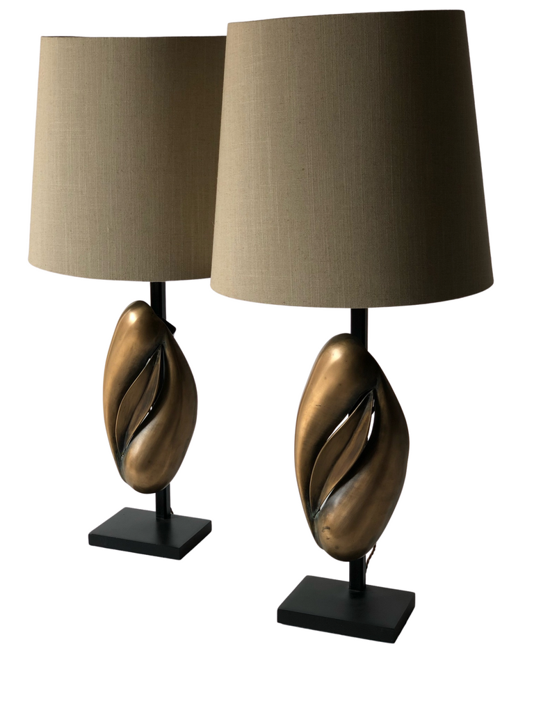 CRS - Pair Bronze Lamps, circa 1960