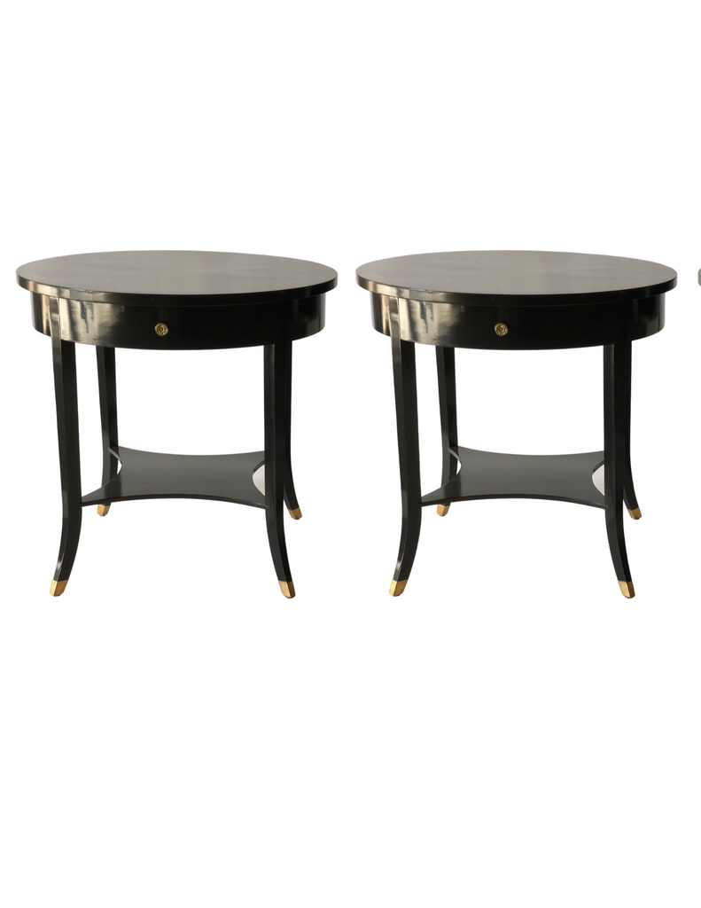 CRS - Modern Lacquered Black Bouillotte Table c.1960
