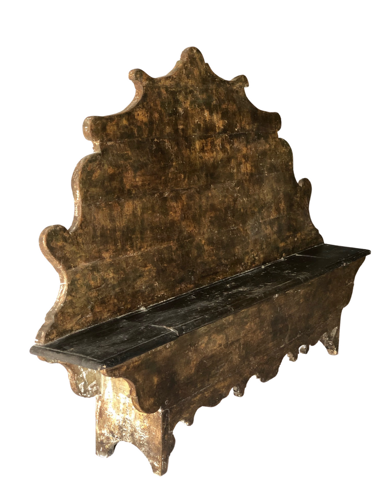 CRS - Italian Walnut Carved Bench
