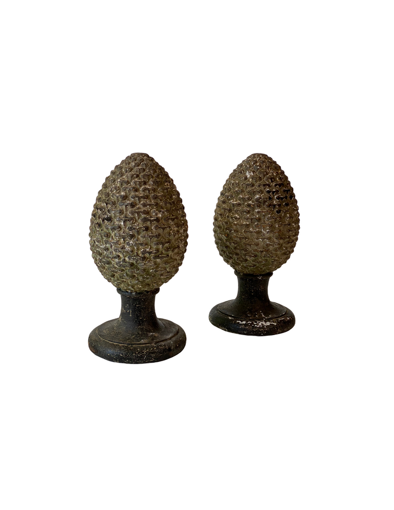 Italian Hand Carved Pineapples, C.1880/Pair