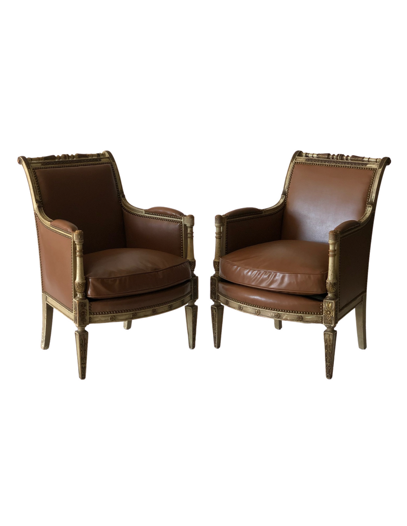 PAIR LOUIS XV PAINTED ARMCHAIRS c. 1760