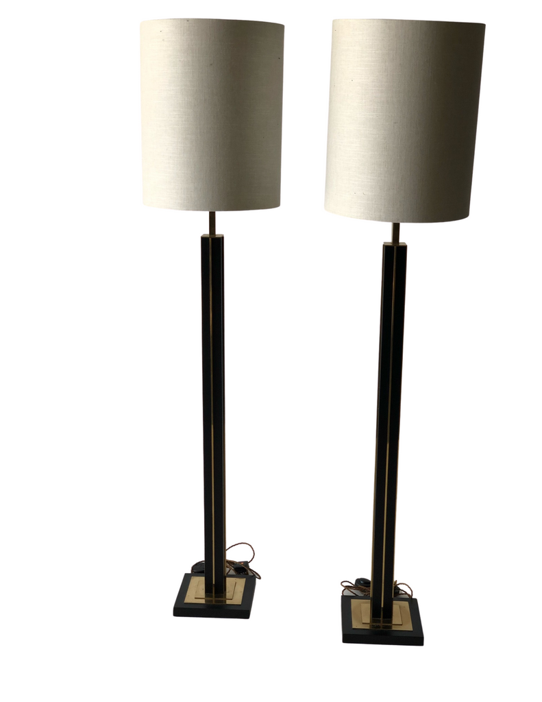 CRS - Pair Brass Steel Floor Lamps, circa 1970
