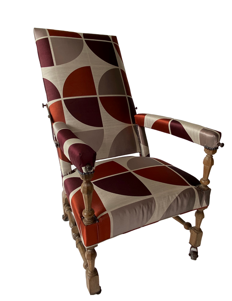 Italian Ratchet Chair - Walnut 18th Century in Modern Fabric