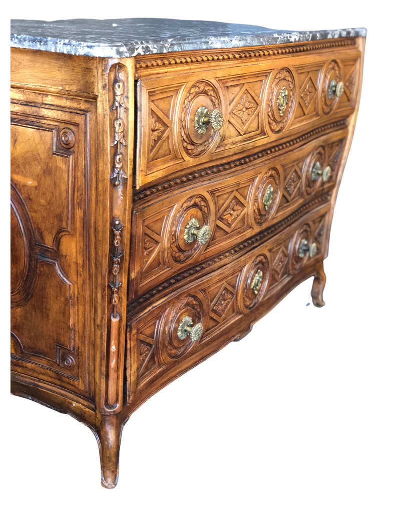 CRS French Walnut Louis XIV Commode with Marble Top, c.1750