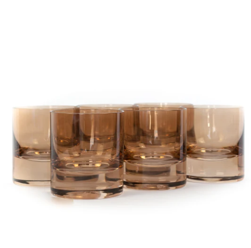 Rocks Glasses - Amber Smoke - Set of 6