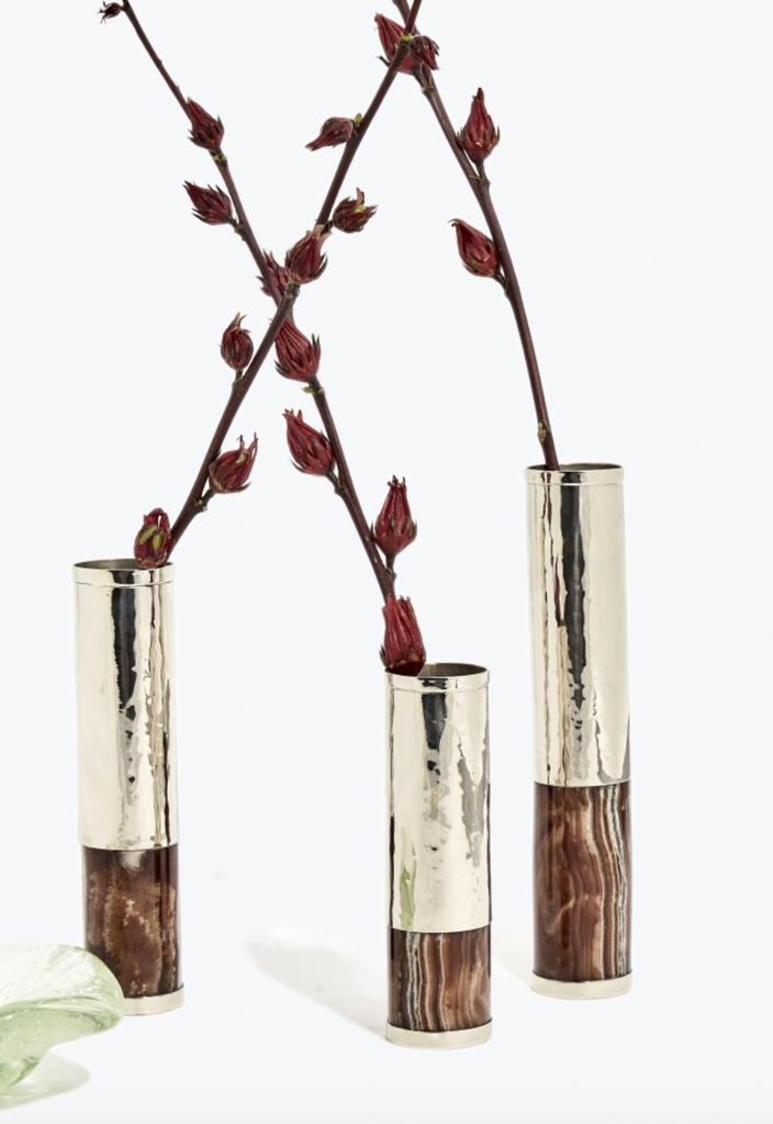 Salta Cream Flower Vase Tube - Small - Alpaca Metal & Onyx
