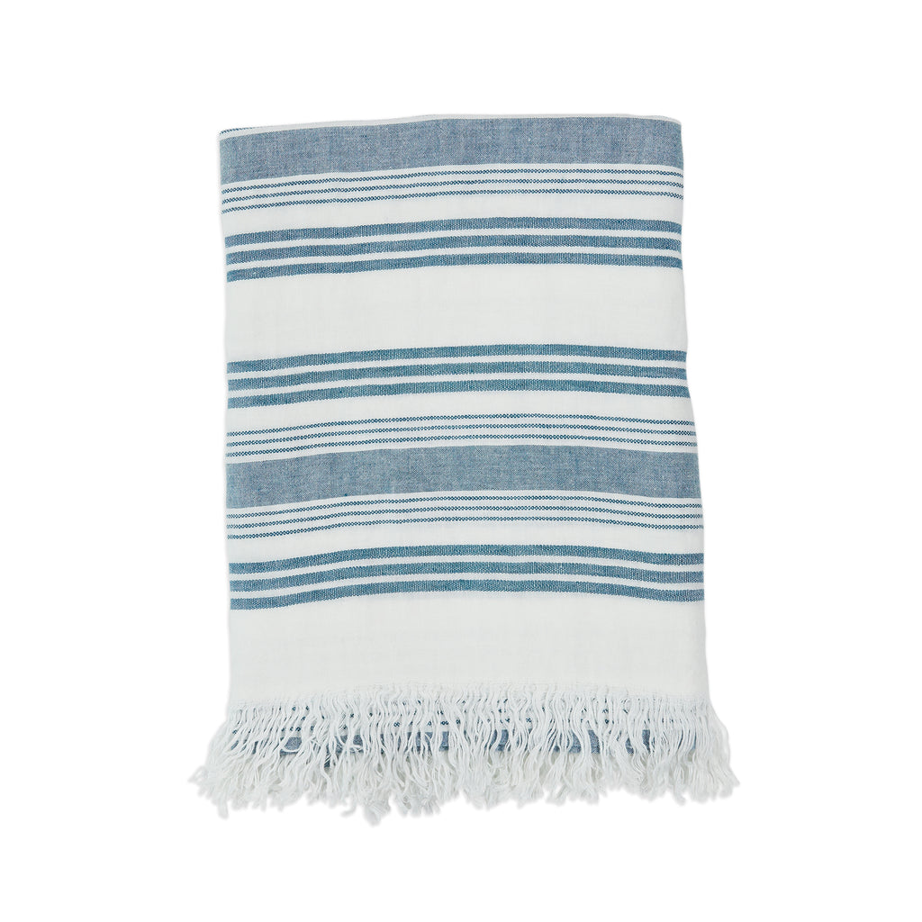 Malibu Linen Throw, White and Turquoise
