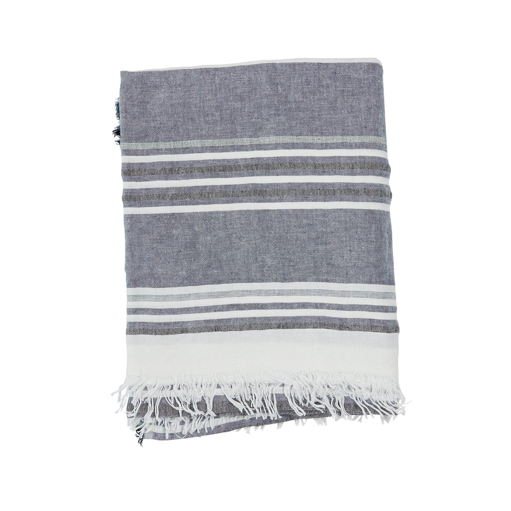 Pismo Linen Throw, White and Navy
