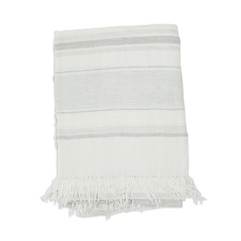 Newport Linen Throw, White and Light Grey
