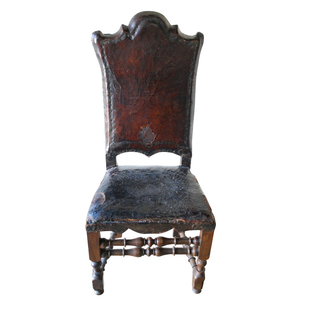 Tooled Leather Side Chair, C. 1780