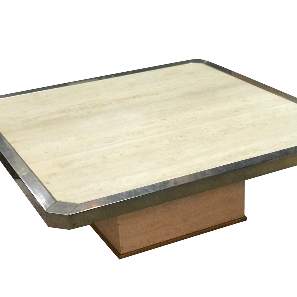 Travertine and silver plate coffee table.