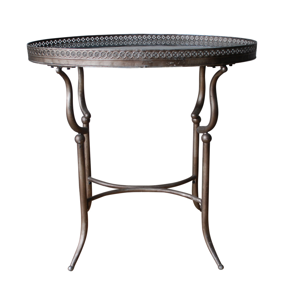 Italian Steel & Marble Oval Table