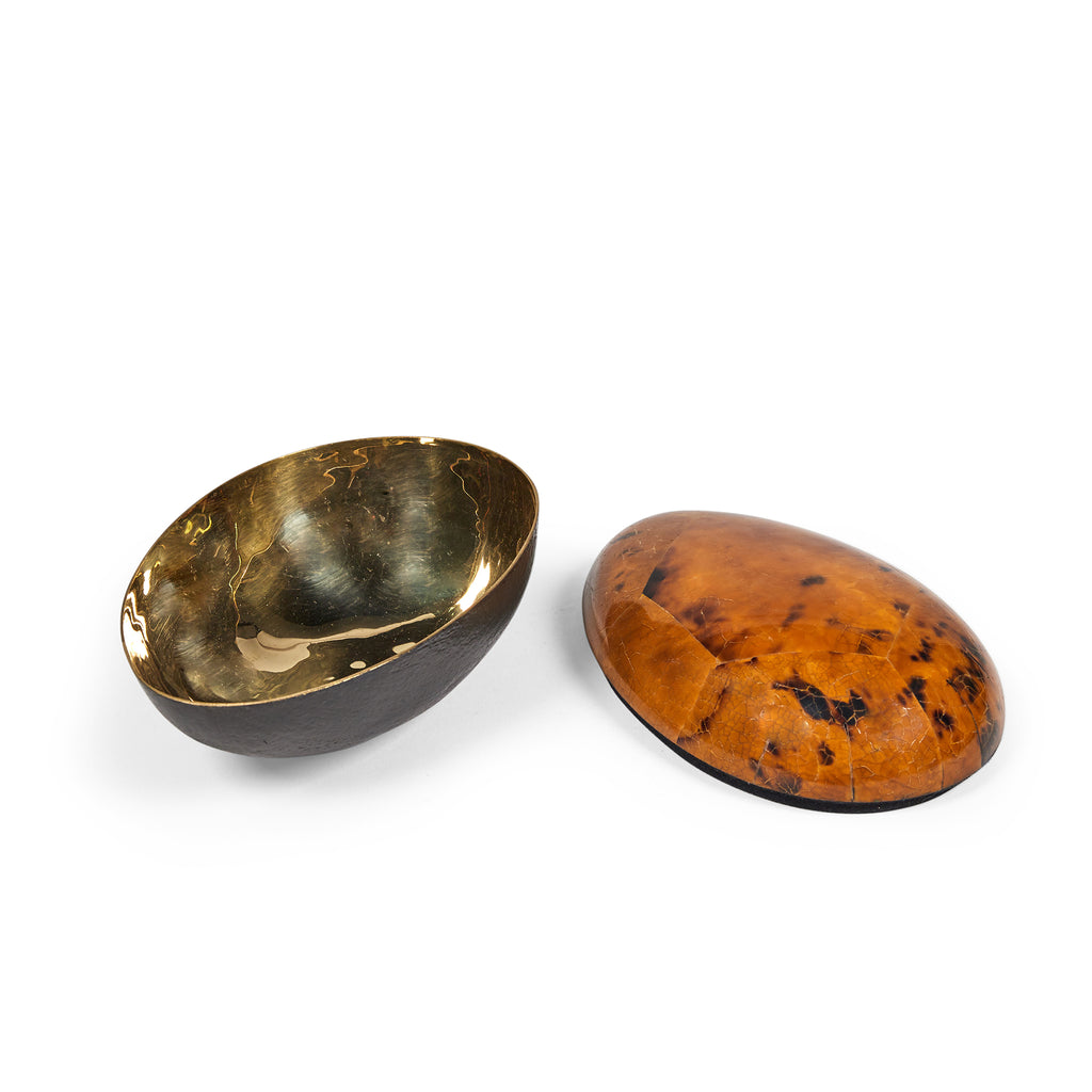 Brushed Brass Bowl with Turtle Shell Finish