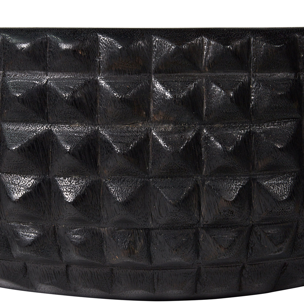 Black Wooden Spiked Bowl