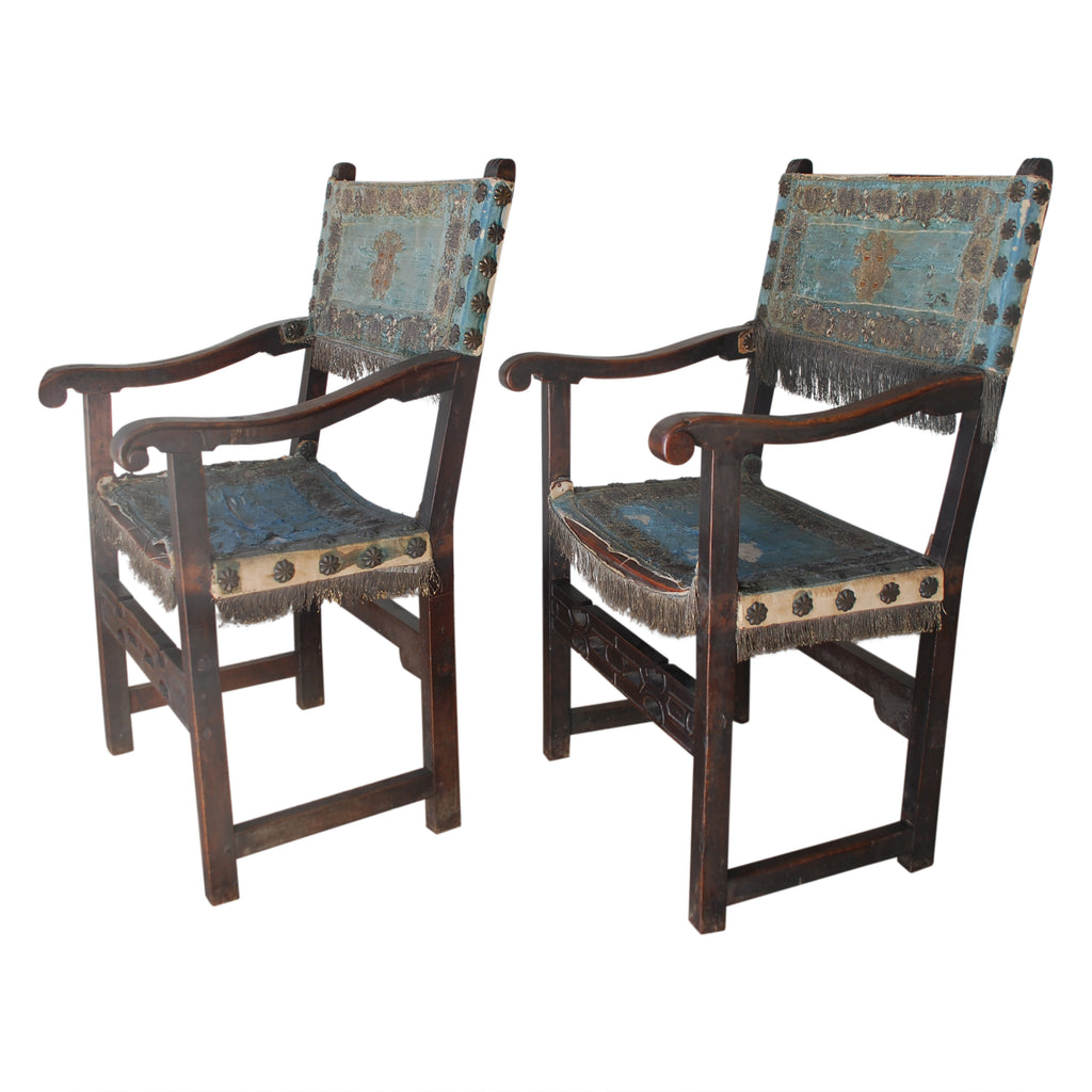 Pair of Italian baroque chairs circa 1760