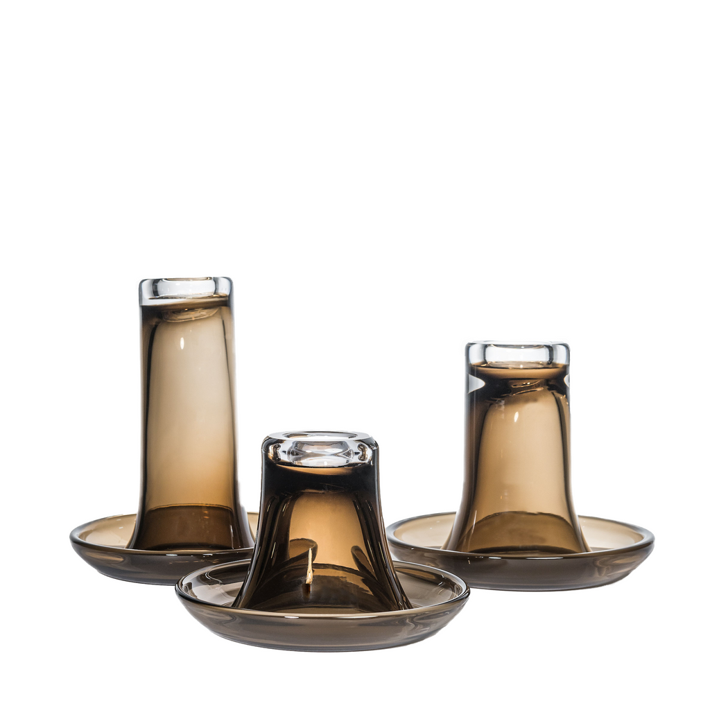 GOMMAIRE  LUZ GLASS CANDLEHOLDERS, TOPAZ