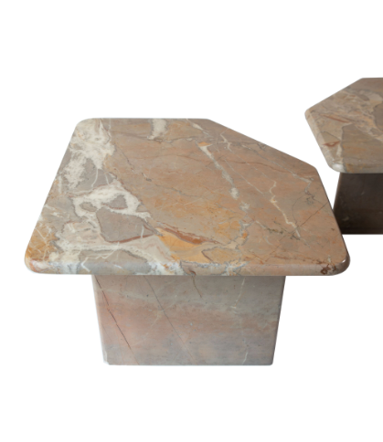 SET OF THREE TRAVERTINE TABLES