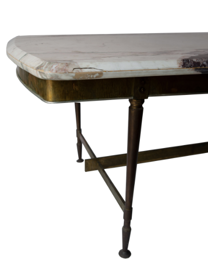 SPANISH BRASS AND MARBLE CENTER TABLE