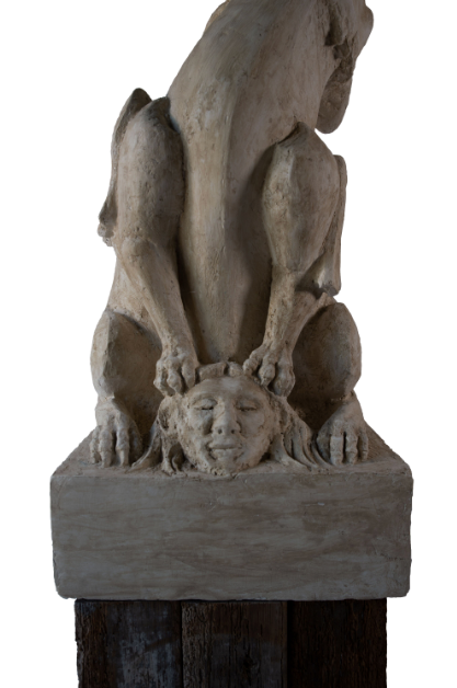 PLASTER GARGOYLE WITH WOODEN BASE