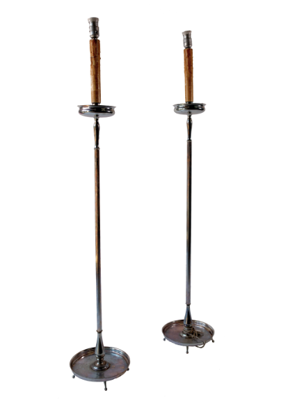 PAIR SILVER PLATE FLOOR LAMPS