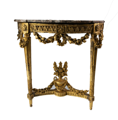 PAIR FRENCH LOUIS XIV GOLD GILT CONSOLE WITH MARBLE TOPS