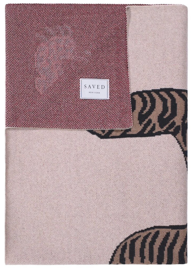Cashmere Tiger Rug Throw - Natural