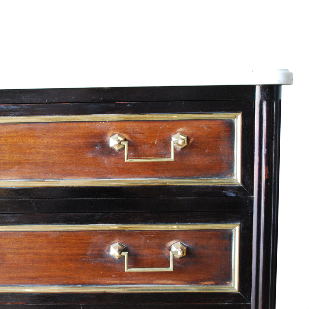 French Mahogany & Ebony Commode with Marble Top