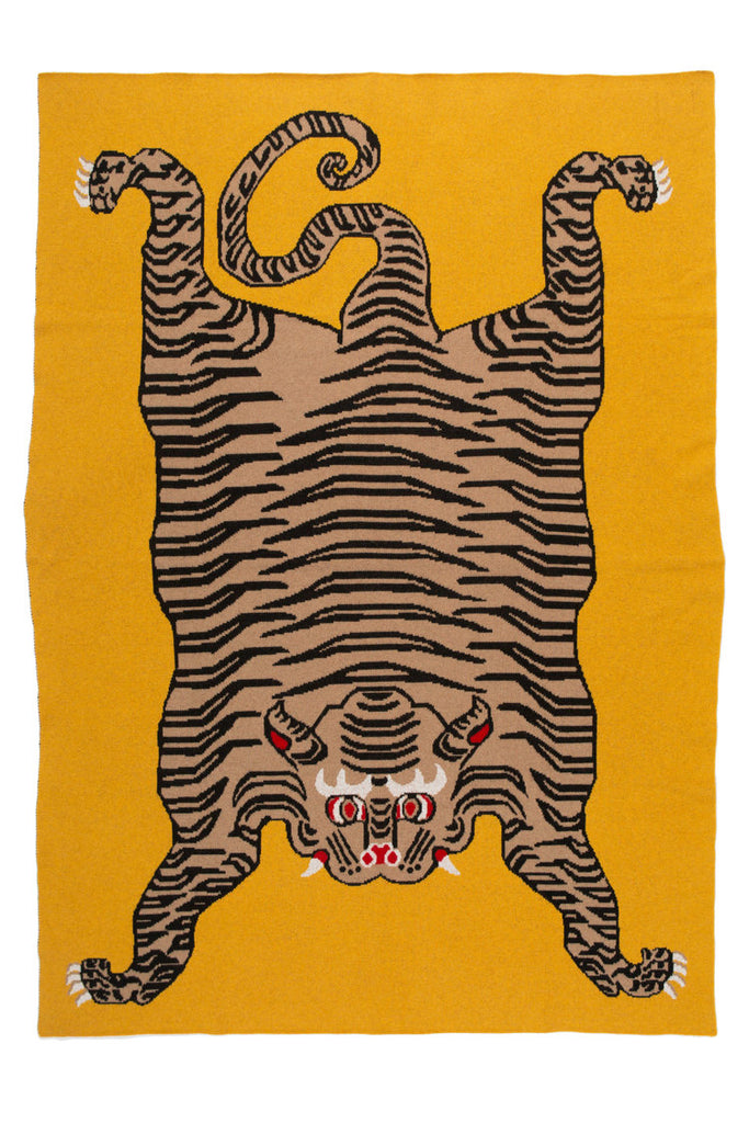 Cashmere Tiger Rug Throw - Mustard