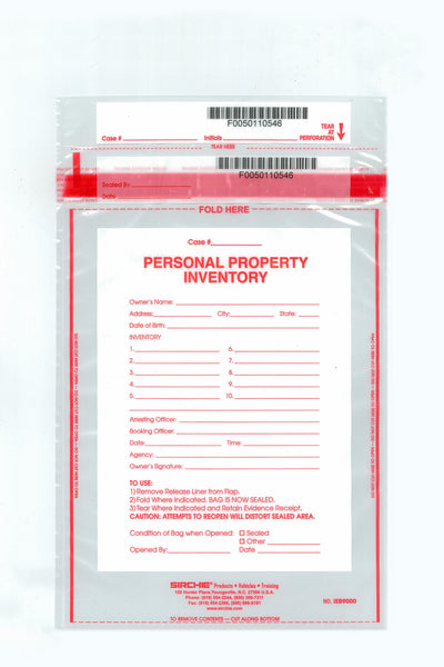 "Personal Property Bag IEB9000 8""x 12"""