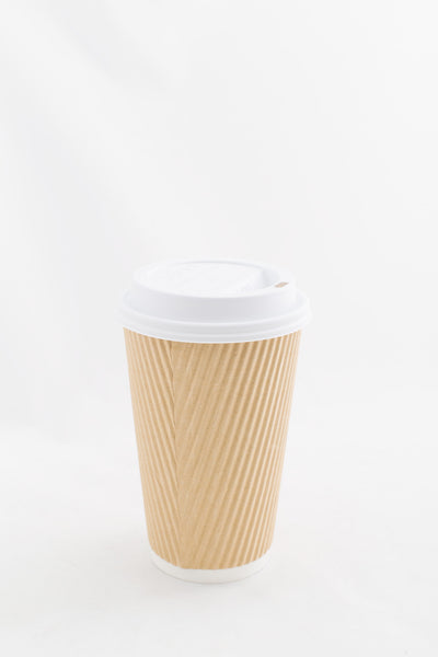 "Hot Cup,Ripple Hot Paper Cups ""Kraft"" 16oz 25pk"