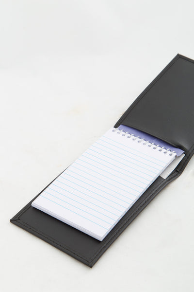 "Note Pad w/ Black Leather Cover 3""x 5"""