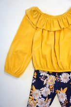 Load image into Gallery viewer, Mustard Navy lace daisy bell pants set